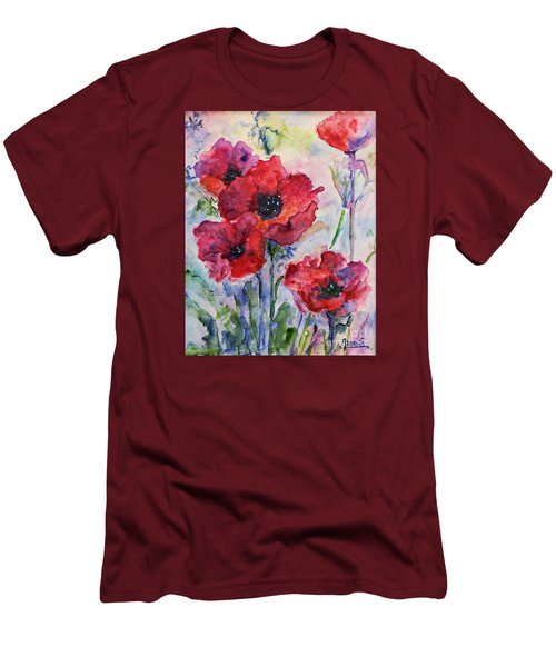 Field Of Red Poppies Watercolor Men's T-Shirt (Slim Fit) by AmaS Art