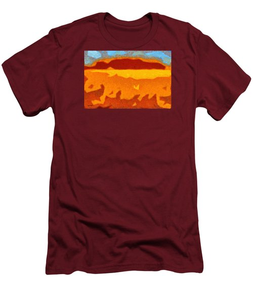 Men's T-Shirt (Slim Fit) featuring the digital art Fire Hill by Spyder Webb