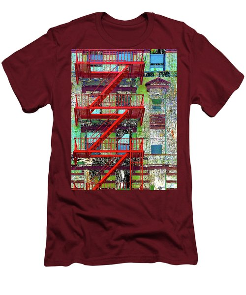 Men's T-Shirt (Slim Fit) featuring the mixed media Fire by Tony Rubino