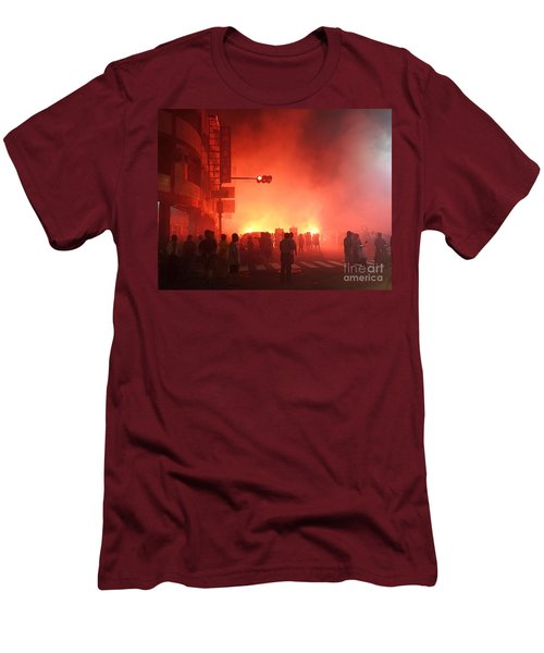 Fireworks During A Temple Procession Men's T-Shirt (Slim Fit)