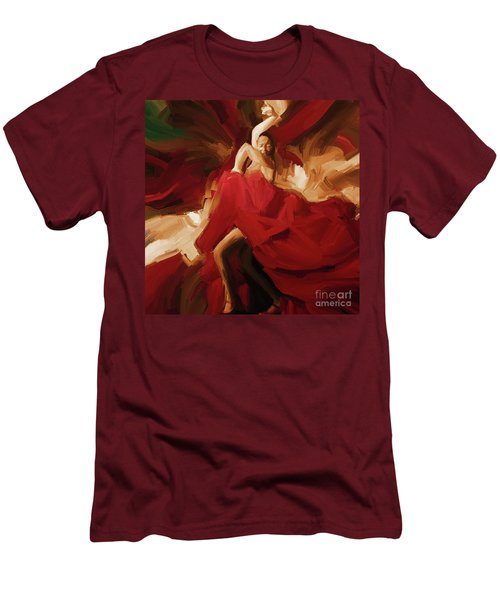 Men's T-Shirt (Slim Fit) featuring the painting Flamenco Spanish Dance Painting 01 by Gull G