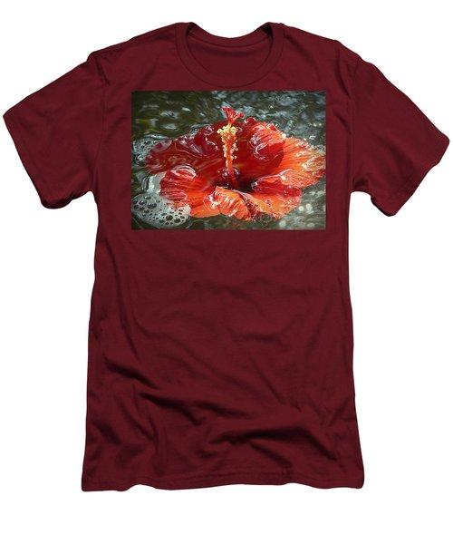 Floating Hibiscus Men's T-Shirt (Slim Fit) by Lori Seaman