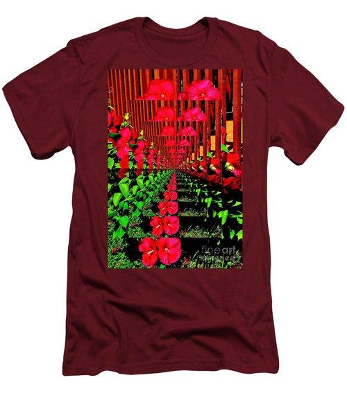 Men's T-Shirt (Slim Fit) featuring the digital art Flower Garden Abstract by Marsha Heiken