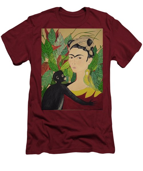 Frida With Monkey And Bird Men's T-Shirt (Slim Fit)