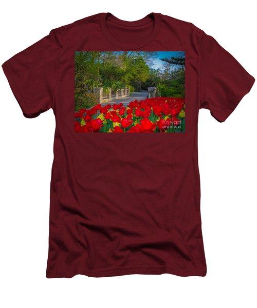 Garden Tulips Along The Trail Men's T-Shirt (Slim Fit) by John Roberts