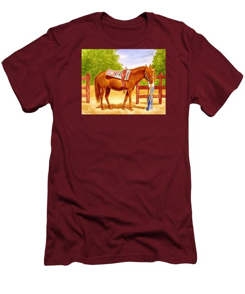 Men's T-Shirt (Slim Fit) featuring the painting Girl Talk by Stacy C Bottoms