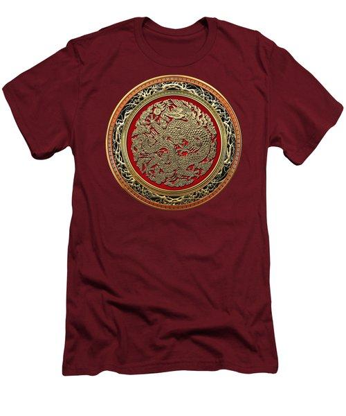 Golden Chinese Dragon On Red Velvet Men's T-Shirt (Slim Fit) by Serge Averbukh