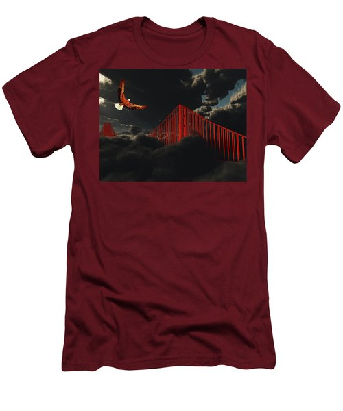 Golden Gate Bridge In Heavy Fog Clouds With Eagle Men's T-Shirt (Athletic Fit)