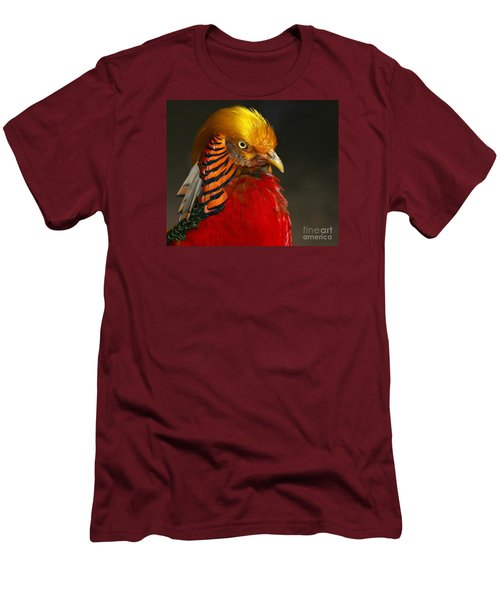 Men's T-Shirt (Slim Fit) featuring the photograph Golden Ornamental Pheasant by Debbie Stahre