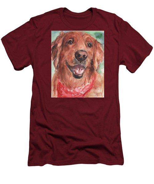 Golden Retriever Dog In Watercolori Men's T-Shirt (Slim Fit) by Maria's Watercolor