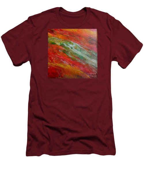 Men's T-Shirt (Slim Fit) featuring the painting Green River by Dragica  Micki Fortuna