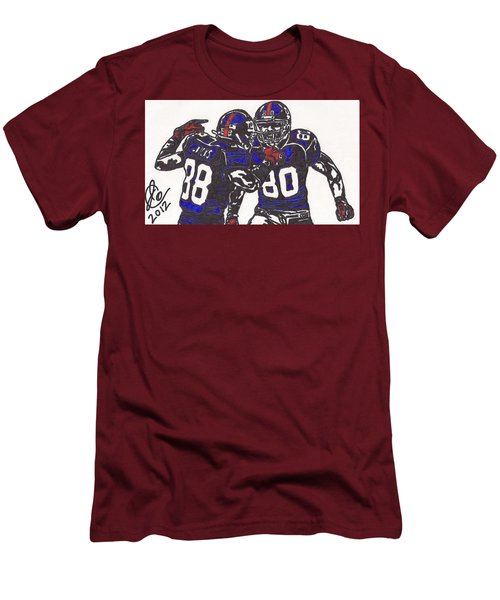 Men's T-Shirt (Slim Fit) featuring the drawing Hakeem Nicks And Victor Cruz by Jeremiah Colley