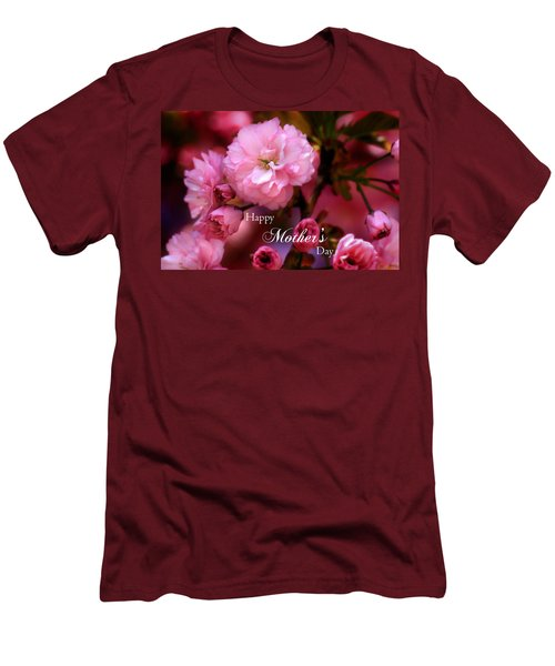 Men's T-Shirt (Slim Fit) featuring the photograph Happy Mothers Day Spring Pink Cherry Blossoms by Shelley Neff