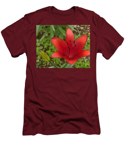 Hazelle's Red Lily Men's T-Shirt (Slim Fit) by Jana Russon