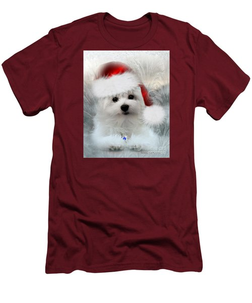 Hermes The Maltese At Christmas Men's T-Shirt (Slim Fit) by Morag Bates