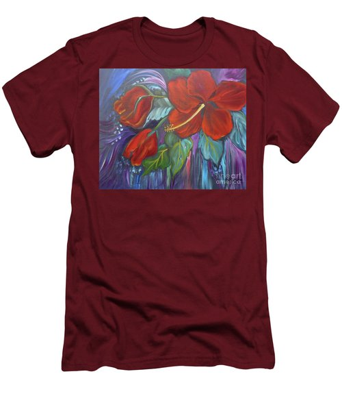 Hibiscus Whimsy Men's T-Shirt (Athletic Fit)