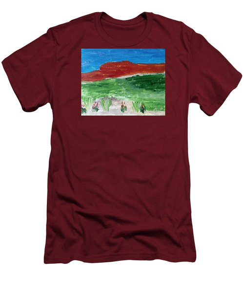 Men's T-Shirt (Slim Fit) featuring the painting Indian Paintbrush Under A Midday Sun by Brenda Pressnall