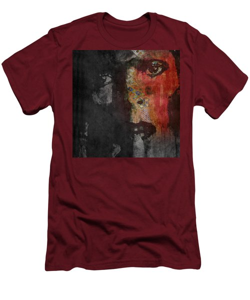Men's T-Shirt (Slim Fit) featuring the painting Jamming Good With Wierd And Gilly by Paul Lovering