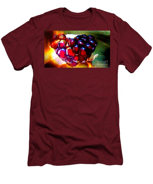 Men's T-Shirt (Slim Fit) featuring the painting Jeweled Heart In Light And Dark by Genevieve Esson