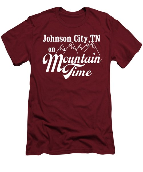 Men's T-Shirt (Slim Fit) featuring the digital art Johnson City Tn On Mountain Time by Heather Applegate