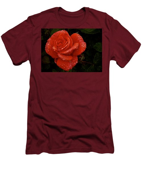 Men's T-Shirt (Slim Fit) featuring the photograph June 2016 Rose No. 3 by Richard Cummings