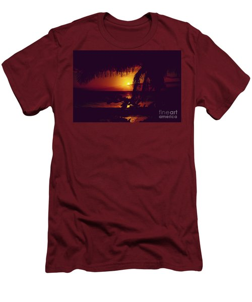 Men's T-Shirt (Athletic Fit) featuring the photograph Kamaole Tropical Nights Sunset Gold Purple Palm by Sharon Mau