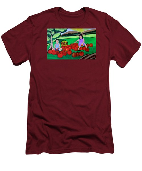 Men's T-Shirt (Slim Fit) featuring the painting Kids Playing And Picking Apples by Lorna Maza