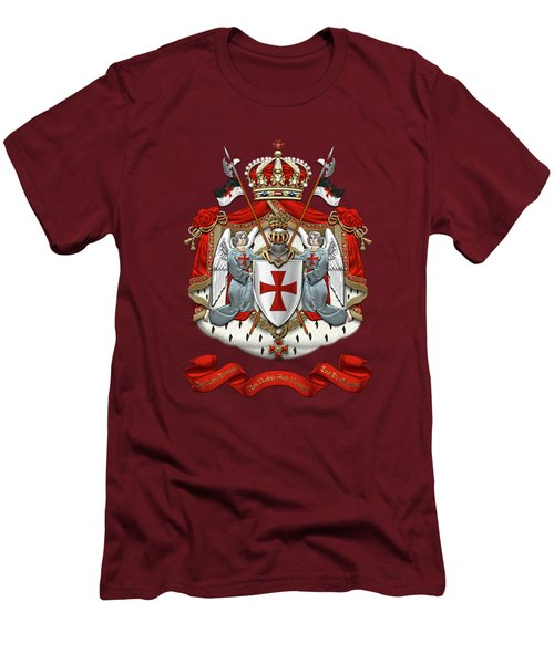 Knights Templar - Coat Of Arms Over Red Velvet Men's T-Shirt (Slim Fit) by Serge Averbukh