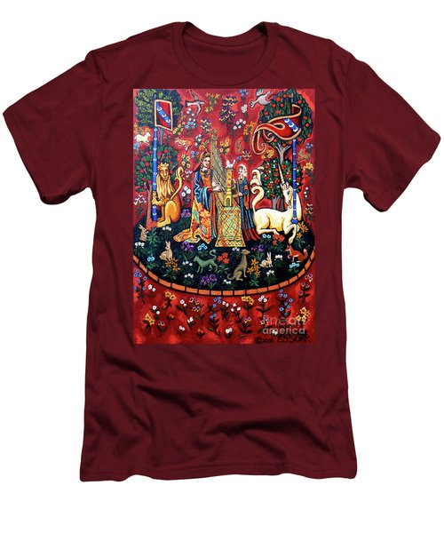 Men's T-Shirt (Slim Fit) featuring the painting Lady And The Unicorn Sound by Genevieve Esson