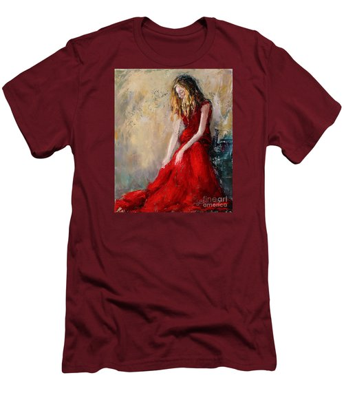 Lady In Red 2 Men's T-Shirt (Slim Fit) by Jennifer Beaudet