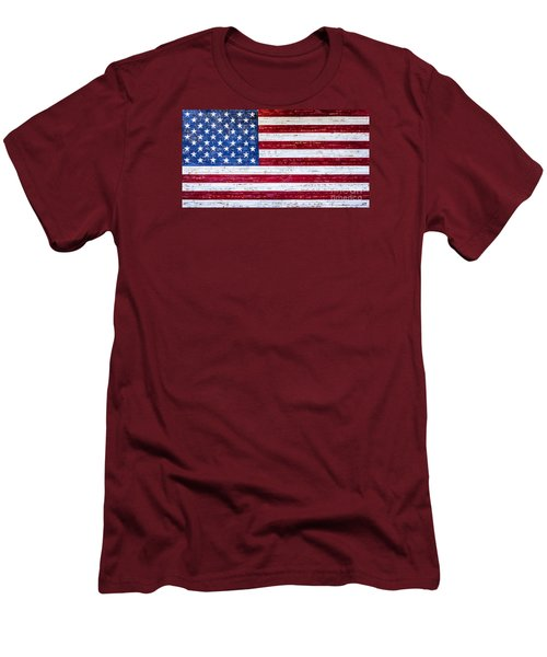 Land Of The Free Men's T-Shirt (Slim Fit) by David Millenheft
