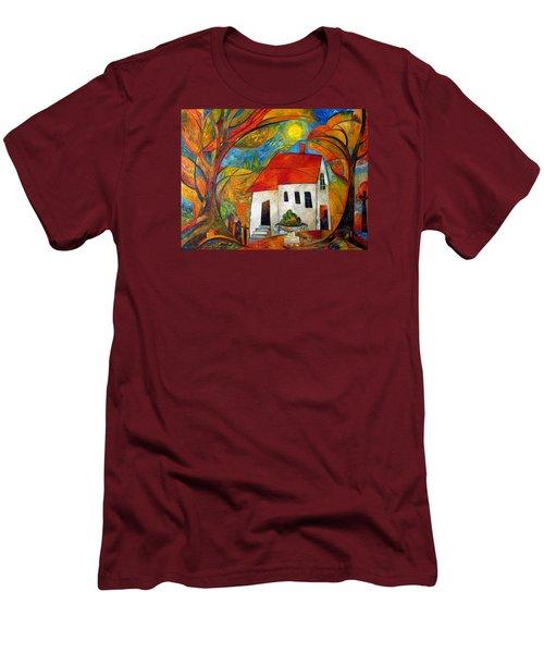 Landscape With The House Men's T-Shirt (Slim Fit) by Mikhail Savchenko