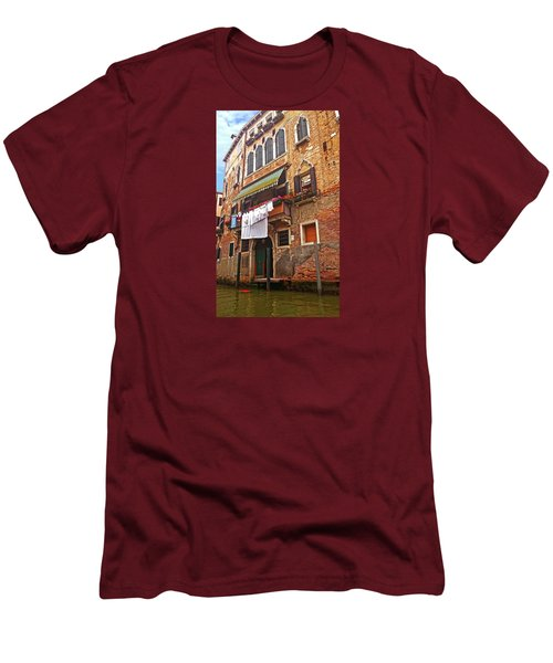 Men's T-Shirt (Athletic Fit) featuring the photograph Laundry Drying In Venice by Anne Kotan