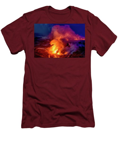 Men's T-Shirt (Slim Fit) featuring the photograph Lava And Ocean At Dawn by Allen Biedrzycki