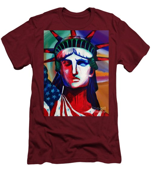 Liberty Of Statue New York 98jhm Men's T-Shirt (Slim Fit) by Gull G