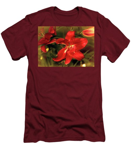 Men's T-Shirt (Athletic Fit) featuring the mixed media Lilies Before Dusk 14 by Lynda Lehmann