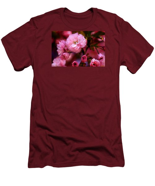 Men's T-Shirt (Slim Fit) featuring the photograph Lovely Spring Pink Cherry Blossoms by Shelley Neff