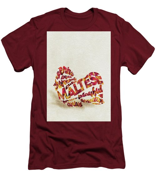 Men's T-Shirt (Athletic Fit) featuring the painting Maltese Dog Watercolor Painting / Typographic Art by Ayse and Deniz