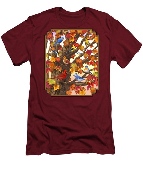 Maple Tree Marvel - Bird Painting Men's T-Shirt (Slim Fit) by Crista Forest