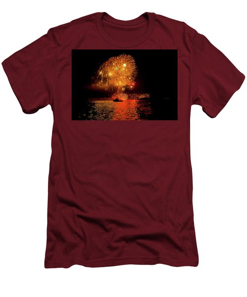 Men's T-Shirt (Athletic Fit) featuring the photograph Marblehead Fireworks by Jeff Folger