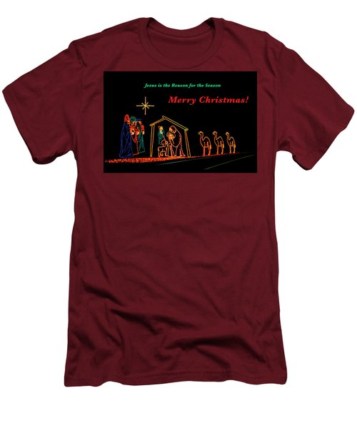 Merry Christmas Men's T-Shirt (Slim Fit) by Penny Lisowski