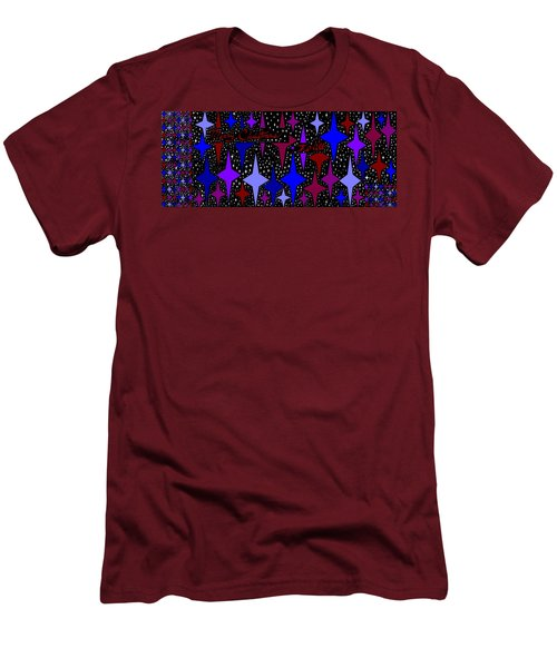 Merry Christmas To All, Starry, Starry Night Men's T-Shirt (Slim Fit) by Linda Velasquez