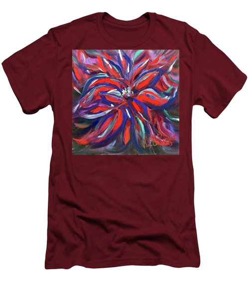 Midnight Poinsettia Men's T-Shirt (Athletic Fit)