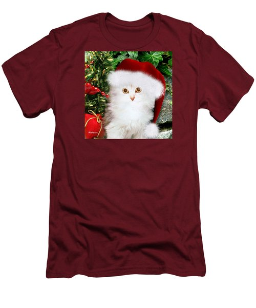 Men's T-Shirt (Slim Fit) featuring the mixed media Mistletoe At Christmas by Morag Bates
