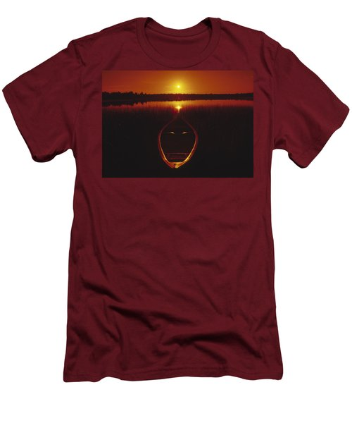 Moody Sunrise Lake Scene With Cedar Canoe Men's T-Shirt (Athletic Fit)