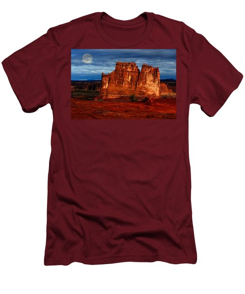 Men's T-Shirt (Slim Fit) featuring the photograph Moon Over La Sal by Harry Spitz