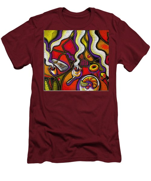 Men's T-Shirt (Slim Fit) featuring the painting Morning Coffee Cup And Muffin  by Leon Zernitsky