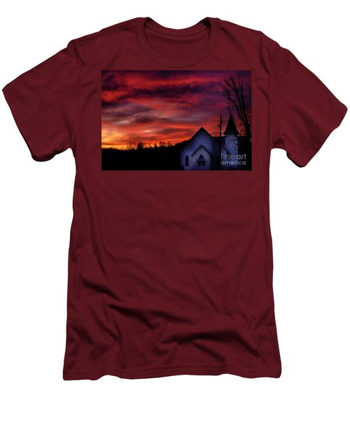 Men's T-Shirt (Slim Fit) featuring the photograph Mountain Sunrise And Church by Thomas R Fletcher