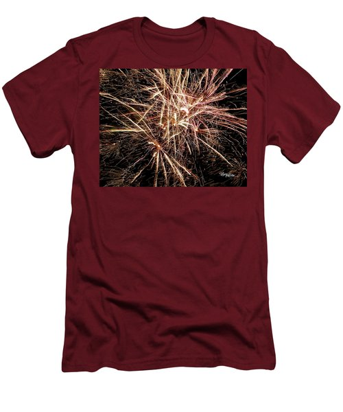 Men's T-Shirt (Athletic Fit) featuring the photograph Multi Blast Fireworks #0721 by Barbara Tristan