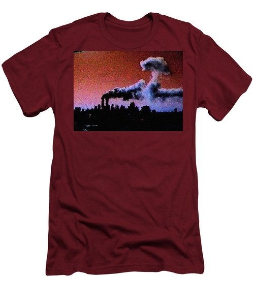 Men's T-Shirt (Slim Fit) featuring the digital art Mushroom Cloud From Flight 175 by James Kosior